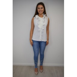 Lucy Cobb FiFi Frill Blouse - White