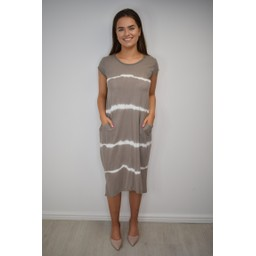 Lucy Cobb Taylor T Shirt Dress - Taupe Tie Dye