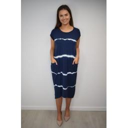 Lucy Cobb Taylor T Shirt Dress in Navy Tie Dye