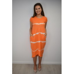 Lucy Cobb Taylor T Shirt Dress - Coral Tie Dye