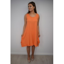 Lucy Cobb Tess Frill Hem T Shirt Dress in Orange