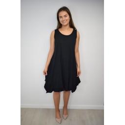 Lucy Cobb Tess Frill Hem T Shirt Dress in Black