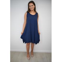 Lucy Cobb Tess Frill Hem T Shirt Dress - Navy