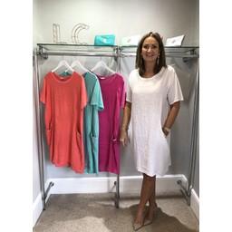 Lucy Cobb Diamante Pocket Linen Dress - White