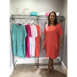 Lucy Cobb Diamante Pocket Linen Dress - Coral