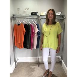Lucy Cobb Linen Sequin Hem T-shirt - Lime
