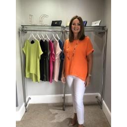 Lucy Cobb Linen Sequin Hem T-shirt - Orange