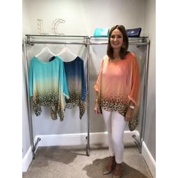 Lucy Cobb Leopard Tie Dye Silk Mix Top in Coral