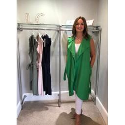 Lucy Cobb Whitney Long Line Linen Waistcoat - Green