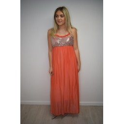 Lucy Cobb Sequin Silk Mix Maxi Dress  - Coral