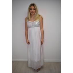 Lucy Cobb Sequin Silk Mix Maxi Dress  - White