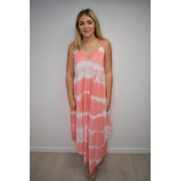 Lucy Cobb Tilly Tie Dye Dress  - Coral