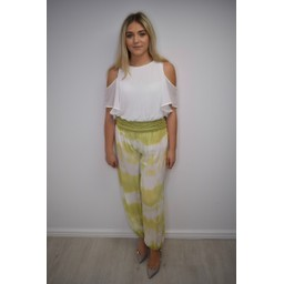 Lucy Cobb Hallie Harem Tie Dye Trousers  - Lime
