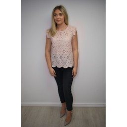 Lucy Cobb Lydia Lace Top - Baby Pink