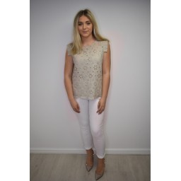 Lucy Cobb Lydia Lace Top - Stone