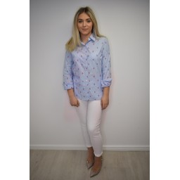 Alice Collins Flamingo Pinstripe Shirt - Blue Stripe