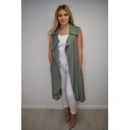 Lucy Cobb Whitney Long Line Linen Waistcoat - Khaki
