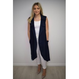 Lucy Cobb Whitney Long Line Linen Waistcoat - Navy