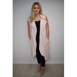 Lucy Cobb Whitney Long Line Linen Waistcoat - Pink