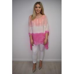 Lucy Cobb Taya Tie Dye Silk Top - Coral