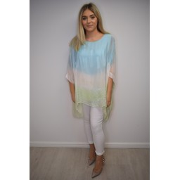 Lucy Cobb Taya Tie Dye Silk Top in Turquoise