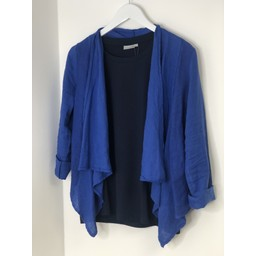 Lucy Cobb Leanne Linen Waterfall Jacket - Royal