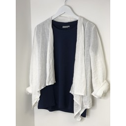 Lucy Cobb Leanne Linen Waterfall Jacket - White