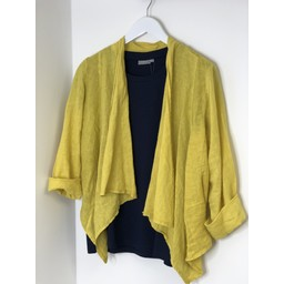 Lucy Cobb Leanne Linen Waterfall Jacket - Yellow