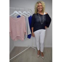 Lucy Cobb Lia Lightweight Knit Top  - Navy