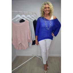 Lucy Cobb Lia Lightweight Knit Top  in Royal