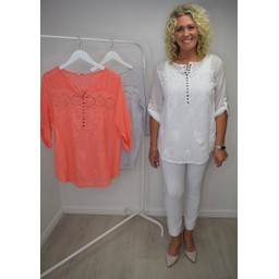Lucy Cobb Ella Embroidery Sequin Shirt  in White