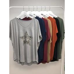 Lucy Cobb Leopard Star T-Shirt - Grey