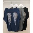 Angel Wing Back T-Shirt - Charcoal