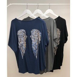 Lucy Cobb Angel Wing Back T-Shirt in Navy