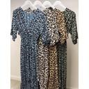Animal Print Dip Hem Dress - Blue Animal Print