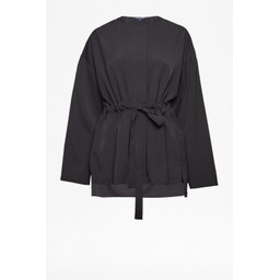French Connection Crape Gathered Waist Blouse - Black