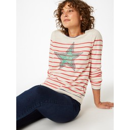 White Stuff Illustration Star Jumper - Stone