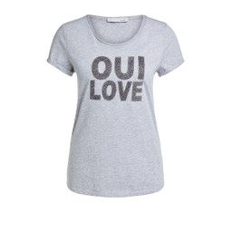 Oui Glittery Oui T-shirt in Grey