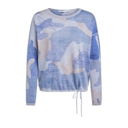 Oui Star Drawstring Jumper  - Blue Mix