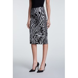 Oui Zebra Knit Skirt - Black Animal Print
