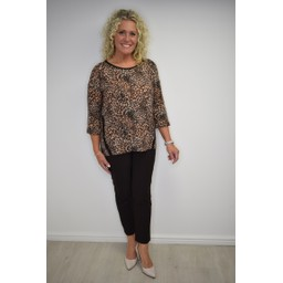 Fransa Fremflower 1 Top - Orange Animal Print