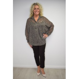 French Connection Brunella Crinkle Popover Blouse - Brown Mix