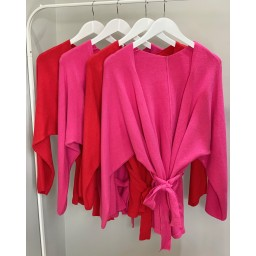 Lucy Cobb Belle Belted Cardigan  - Fuchsia