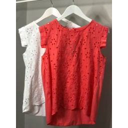 Lucy Cobb Lydia Lace Top in Coral