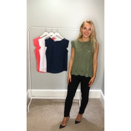 Lucy Cobb Lydia Lace Top in Khaki