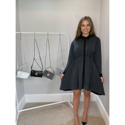 French Connection Ren Cupro Mix Shirt Dress - Dark Grey
