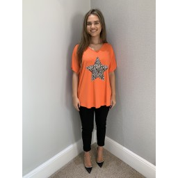 Lucy Cobb Leopard Star T-Shirt in Orange