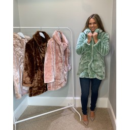 Lucy Cobb Tilly Fur Coat in Mint