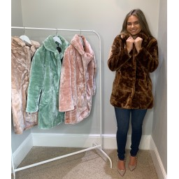 Lucy Cobb Tilly Fur Coat in Chocolate