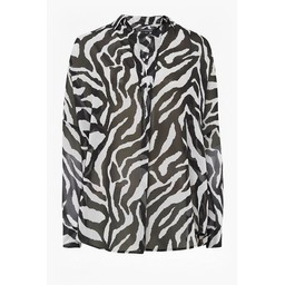 French Connection Sheer Zebra Pop Over Shirt - Black & White